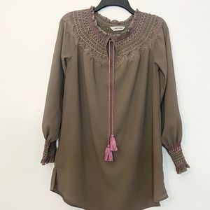 Lands End Boho Style Long Sleeve Long Blouse Top
